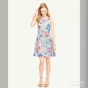 Ann Taylor Floral Dress Blue Petite Jungle Floral